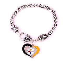 Pittsburgh Steelers Football Heart Charm Dangle Women's Fash