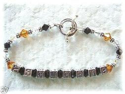 PITTSBURGH STEELERS JEWELRY BEADED BRACELET SILVER made with