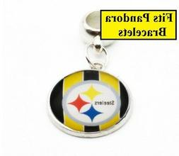 Pittsburgh Steelers Large Hole Silver Bracelet Charm Style F