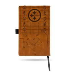 PITTSBURGH STEELERS LASER ENGRAVED BROWN NOTEPAD WITH ELASTI