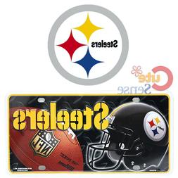 Pittsburgh Steelers License Plate Metal NFL Helmet Logo Auto