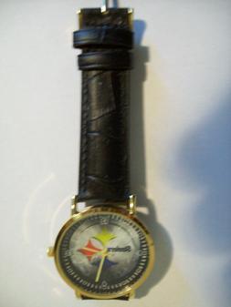 Pittsburgh Steelers Logo Black Leather Band Wrist Watch. Qua