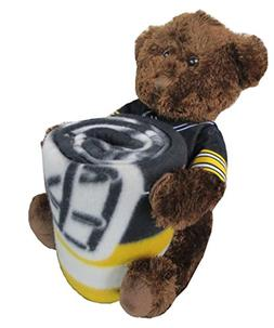 Pittsburgh Steelers NFL Bear Mascot Pillow Fleece Throw Blan