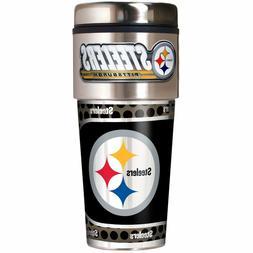 Pittsburgh Steelers NFL 16 oz Travel Tumbler w/ Metal Emblem