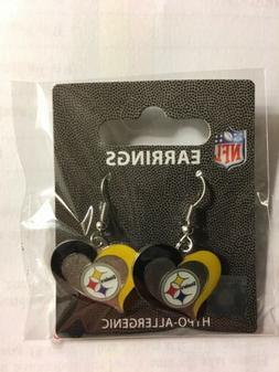 Pittsburgh Steelers NFL Swirl Heart Dangle Earrings