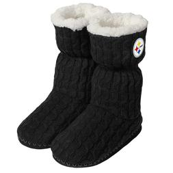 Pittsburgh Steelers NFL Women's Black Bootie Slippers, Size