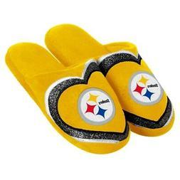 Pittsburgh Steelers NFL Women's Glitter Heart Slide Slippers