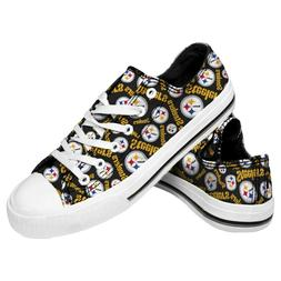 Pittsburgh Steelers NFL Women's Low Top Repeat Print Canvas