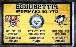"""Pittsburgh Steelers Pirates Penguins """"City of Champions"""" Fla"""