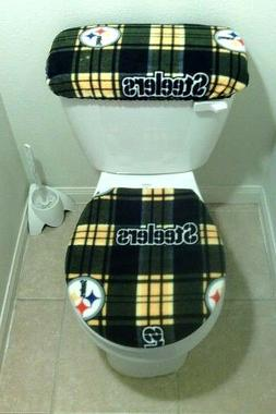 PITTSBURGH STEELERS Plaid Fabric Toilet Seat Cover Set Bathr