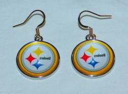Pittsburgh Steelers Round Logo Fish Hook Dangle Earrings FRE