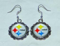 Pittsburgh Steelers Round Logo Sterling Fish Hook Dangle Ear