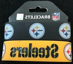 PITTSBURGH STEELERS SILICONE WRIST BANDS BRACELETS NEW 2 PAC