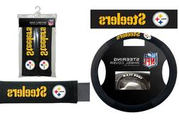 Pittsburgh Steelers Steering Wheel Cover Poly Mesh Suede Sea