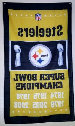 Pittsburgh Steelers Super Bowl Flag Banner 3x5 Ft Man Cave W