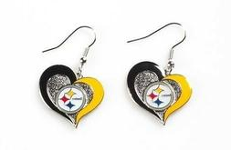 Pittsburgh STEELERS Swirl Heart Dangle Earrings FREE USA Shi