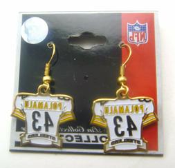 Pittsburgh Steelers Troy Polamalu #43 White Jersey Charm Ear