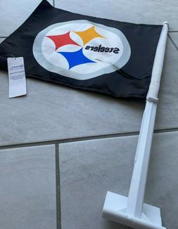 Pittsburgh Steelers TWO SIDED CAR FLAG * FREE SHIPPING *