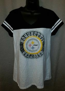 Pittsburgh Steelers White Pre-Faded Sleepwear V-Neck T-Shirt