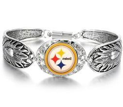 Pittsburgh Steelers Women's Sterling Silver Bracelet Footbal