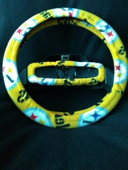 PITTSBURGH STEELERS YELLOW FLEECE STEERING WHEEL COVER SET