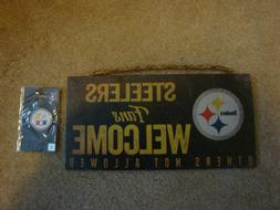 REDUCED Steelers Sign and Lapel Pin-Sports-Souvenirs-Footbal