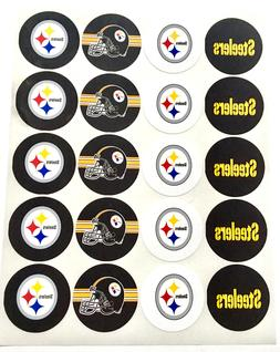 "SET of 40- 2"" PITTSBURGH STEELERS ADHESIVE STICKERS.Football"