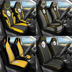 US Pittsburgh Steelers 2Pcs Car Seat Covers Protector Auto T
