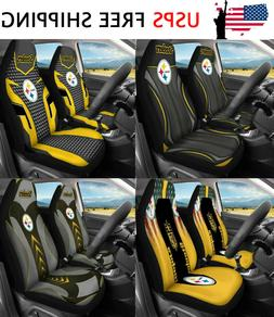 USA Pittsburgh Steelers Car Seat Covers 2PCS Truck Seat Prot